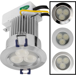 LED 9W High Power IP54 Downlight Chrome 410lm - 31851 - from Toolstation