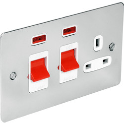 Flat Plate 45A DP Switch & 13A Switched Socket Neon - 31893 - from Toolstation