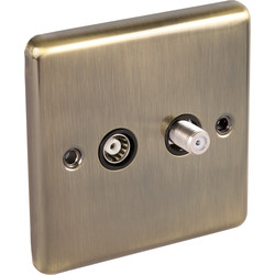 Wessex Electrical Antique Brass TV Point TV/Satellite 1 Gang - 31898 - from Toolstation