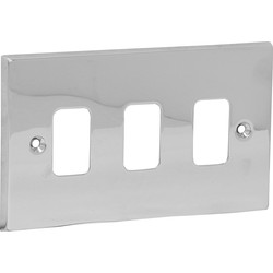 Axiom Grid Front Plate Polished Chrome 3 Gang - 31956 - from Toolstation