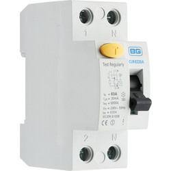 BG BG Incomer Devices 63A 30mA Type A RCD - 31979 - from Toolstation