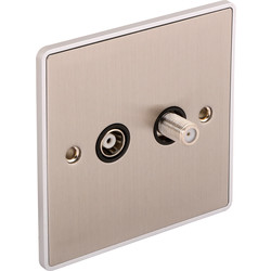 Urban Edge Urban Edge Brushed Chrome TV/ Satellite Socket TV/Satellite 1 Gang - 32053 - from Toolstation