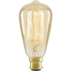Inlight ST64 Vintage Incandescent Decorative Dimmable Lamp 40W BC (B22d) Tinted 140lm - 32114 - from Toolstation