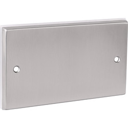 Unbranded Satin Chrome Blank Plate 2 Gang - 32247 - from Toolstation
