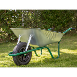 Walsall Wheelbarrow Company Easiload Galvanised Wheelbarrow 85L Pneumatic Wheel - 32288 - from Toolstation