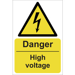 Danger High Voltage Sign 200 x 300mm - 32371 - from Toolstation