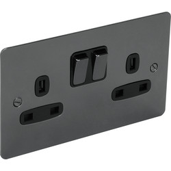 Unbranded Flat Plate Black Nickel 13A Socket 2 Gang Switched DP - 32507 - from Toolstation