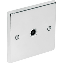 Chrome TV / Satellite Socket Outlet TV Single - 32584 - from Toolstation