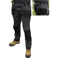 "DeWalt DeWalt Aspen Ripstop Stretch Holster Pocket Trousers Grey/Black 30"" S - 32967 - from Toolstation"