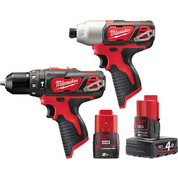 Milwaukee Milwaukee M12BPP2B-421C 12V Li-Ion Cordless Compact Combi Drill & Impact Driver Twin Pack 1 x 4.0Ah & 1 x 2.0Ah - 33026 - from Toolstation