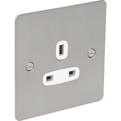 Flat Plate Satin Chrome 13A Socket 1 Gang Unswitched - 33030 - from Toolstation