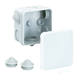 Unbranded Junction Box IP55 75 x 75 x 42mm 3 Nipples - 33304 - from Toolstation