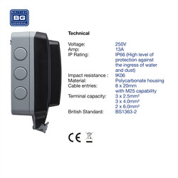 BG IP66 Single 13A Socket with Large Enclosure