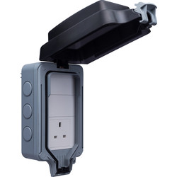 BG BG IP66 Single 13A Socket with Large Enclosure 1 Gang Unswitched - 33435 - from Toolstation