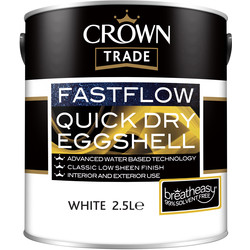 Crown Trade Crown Trade Fastflow Quick Dry Eggshell Paint 2.5L White - 33559 - from Toolstation