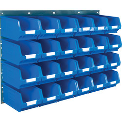 Barton Barton Steel Louvre Panel with Blue Bins 641 x 457mm with TC3 Blue Bins - 33562 - from Toolstation