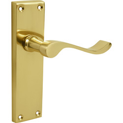 Victorian Scroll Door Handles Latch Brass - 33613 - from Toolstation