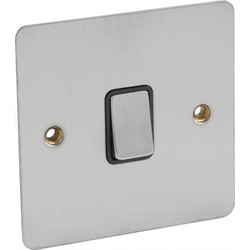 Flat Plate Satin Chrome 10A Switch 1 Gang 2 Way - 33633 - from Toolstation