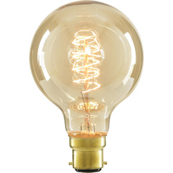 Inlight G80 Vintage Incandescent Decorative Dimmable Lamp 40W BC (B22d) Tinted 140lm - 33656 - from Toolstation