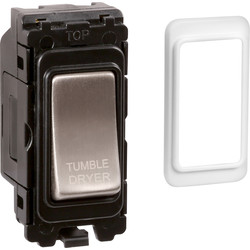 Wessex Wiring Wessex Brushed Stainless Steel Grid Switch 20A DP Tumble Dryer - 33968 - from Toolstation