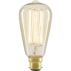 Inlight ST64 Vintage Incandescent Decorative Dimmable Lamp 40W BC (B22d) Clear 140lm - 34269 - from Toolstation