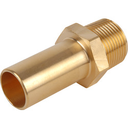 John Guest Compressed Air Male Brass Stem Adaptor 15mm x 1/2 BSPT - 34891 - from Toolstation