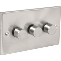 Click Deco Click Deco Satin Chrome Dimmer Switch 3 Gang 2 Way 400W - 34925 - from Toolstation