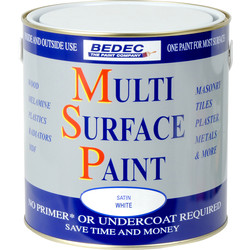 Bedec Bedec Multi Surface Paint Satin White 2.5L - 34965 - from Toolstation