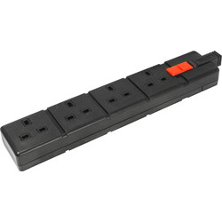 CED Extension Sockets 4 Gang Black - 35025 - from Toolstation