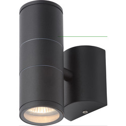 Coast Islay IP44 Marine Grade 316 Stainless Steel Up & Down Wall Light 2 x GU10 Black - 35028 - from Toolstation