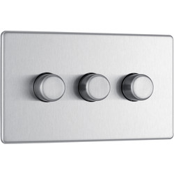 BG BG Screwless Flat Plate Brushed Stainless Steel Dimmer Switch 3 Gang 2 Way - 35142 - from Toolstation
