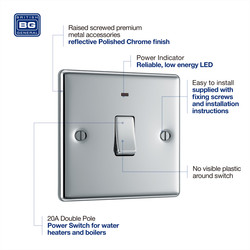 BG  Polished Chrome 20A DP Switch