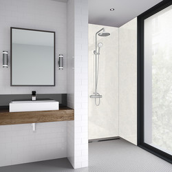 Mermaid Mermaid White Frost Laminate Shower Wall Panel Square Edged 2420mm x 900mm - 35476 - from Toolstation