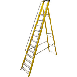 Lyte Ladders Lyte Heavy Duty Fibreglass Platform Step Ladder With Safety Handrail 12 tread, Closed Length 3.47m - 35481 - from Toolstation
