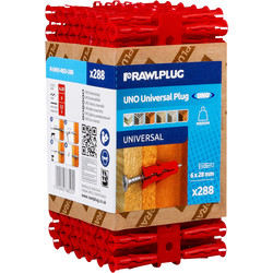 Rawlplug Rawlplug UNO Universal Contract Wall Plug Red 6mm - 35534 - from Toolstation