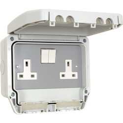 Crabtree Crabtree IP56 13A DP Switched Socket 2 Gang - 35599 - from Toolstation