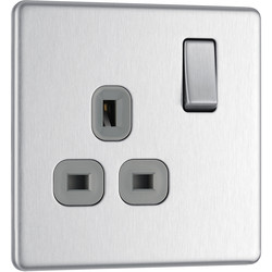 BG BG Screwless Flat Plate Brushed Stainless Steel 13A DP Switch Socket 1 Gang - 35672 - from Toolstation
