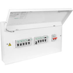 "Schneider Easy9 ""Square"" Amendment 3 High Integrity Dual RCD + 8 MCB's Consumer Unit 12 Way"