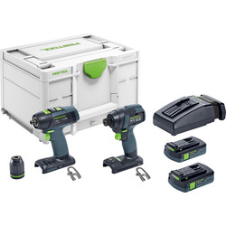 Festool Festool 18V Impact Drill Brushless TID18 T18 Set 2 x 3.1Ah - 35932 - from Toolstation