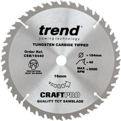 Craft Trend Craft Circular Saw Blade 184 x 40T x 16mm CSB/18440 - 36134 - from Toolstation