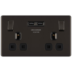 BG Screwless Flat Plate Black Nickel 13A SP USB Switch Socket
