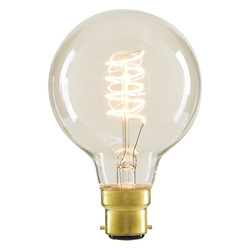 Inlight G80 Vintage Incandescent Decorative Dimmable Lamp 40W BC (B22d) Clear 140lm - 36356 - from Toolstation