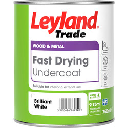 Leyland Trade Leyland Trade Fast Drying Water Based Undercoat Paint Brilliant White 750ml - 36383 - from Toolstation