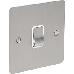 Flat Plate Satin Chrome 10A Switch 1 Gang 1 Way - 36510 - from Toolstation