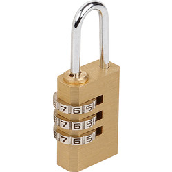 Sterling Sterling Brass Combination Padlock 20 x 3.2 x 22.5mm, 3 Dial  - 36672 - from Toolstation