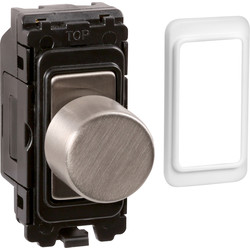 Wessex Wiring Wessex Brushed Stainless Steel Grid Dimmer Switch 5W - 150W LED - 36686 - from Toolstation