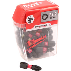Milwaukee Milwaukee Shockwave Impact Screwdriver Bits PZ2 x 25mm - 36743 - from Toolstation