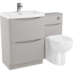 Cassellie 2 Drawer Curve Bathroom Unit Matte Grey - 36774 - from Toolstation
