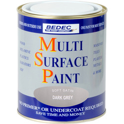 Bedec Multi Surface Paint Satin Dark Grey 750ml