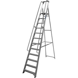 Lyte Industrial Platform Aluminium Step Ladder With Safety Handrail, 12 Tread, Closed Length 3.52m